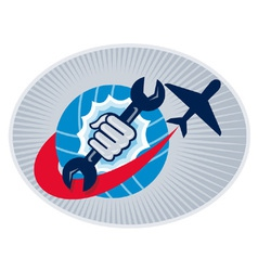 Aviation mechanic hand holding a spanner with vector