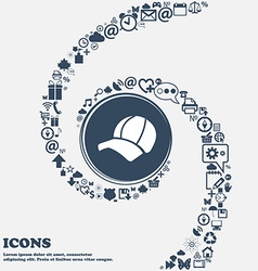 Ball cap icon in the center Around the many vector image