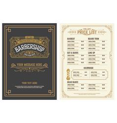 Barbershop price list flyer layered vector