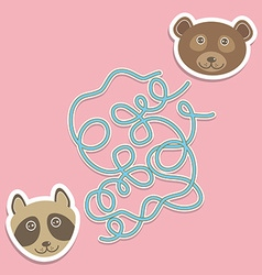 bear raccoon labyrinth game for Preschool Children vector image vector image