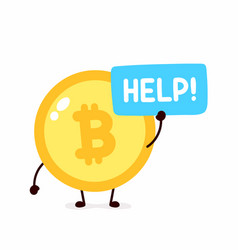 bitcoin coin ask help flat vector image