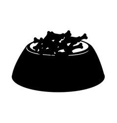 Black icon dog food in bowl vector