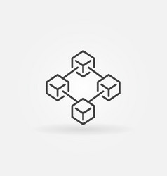 Blockchain technology icon in thin line vector