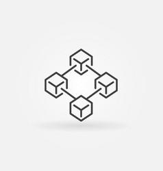Blockchain technology icon in thin line vector