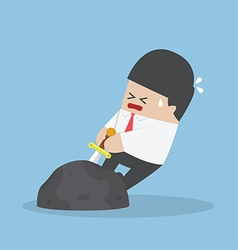 Businessman try to pull sword from stone vector image