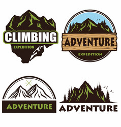 camping logo set design outdoor adventure vector image