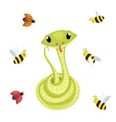 cartoon cute green smiles snake animal vector image