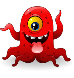 cartoon funny red monster vector image