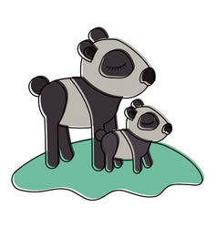 cartoon panda mom with cub over grass in vector image