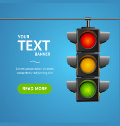 cartoon traffic light banner card vector image