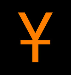 chinese yuan sign orange icon on black background vector image