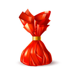 Chocolate truffle candy in red wrapping vector
