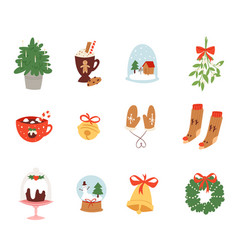 christmas icons symbols for new year vector image