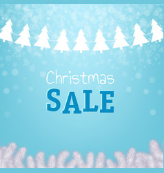 christmas sale poster with xmas tree vector image