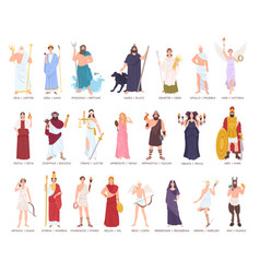 collection of olympic gods and goddesses from vector image