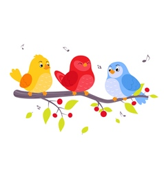Colorful birds sitting on branch vector