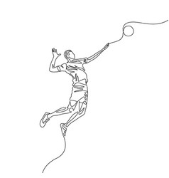 continuous one line volleyball player jumps to vector image