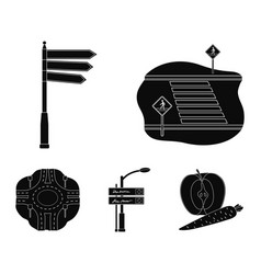 Direction signs and other web icon in black style vector