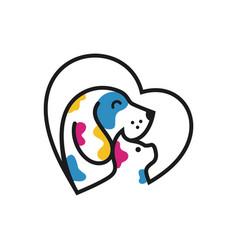 dog and cat pet shop logo template vector image