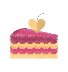 Drawing delicious pink cake with love heart vector
