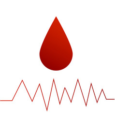 drop of blood red color gradient and a cardiogram vector image