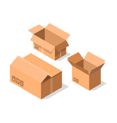 empty opened cardboard boxes icon set vector image