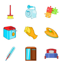 Family home icons set cartoon style vector