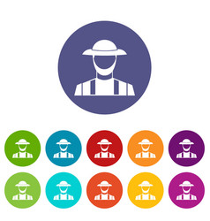 Farmer set icons vector