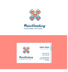 flat hearts blocks logo and visiting card vector image