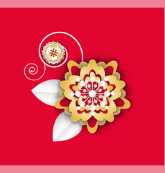 flower with leaves and petals flora plant icon vector image