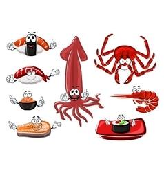 Fresh and tasty cartoon seafood vector image
