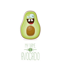 Funny cartoon cute green avocado character vector