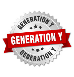Generation y round isolated silver badge vector