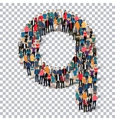 Group people shape letter Q Transparency vector