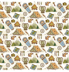 hand drawn pattern with camping travel elements vector image