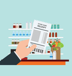 hand holding grocery shopping receipt vector image vector image