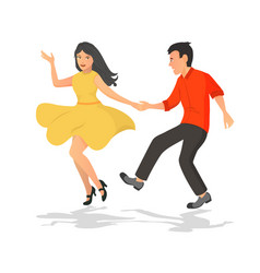 happy couple of guy and girl dancing musical vector image
