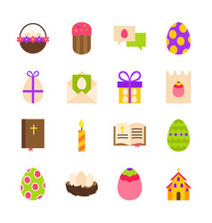 Happy easter holiday objects vector