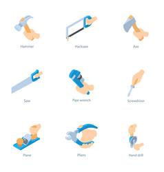Household work icons set cartoon style vector