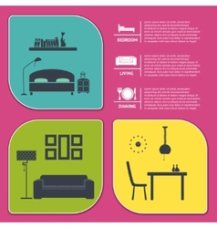 info graphic of house interior banners vector image vector image