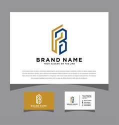 Initials letter pb logo with a business card vector