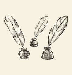 Inkwell with ink pen sketch poetry education vector