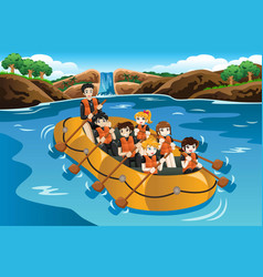 Kids rafting in a river vector