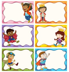 Label design with boys in costumes vector image