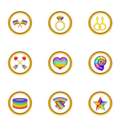 Lgbt symbols icons set cartoon style vector
