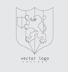 Lion logo in line design style vector