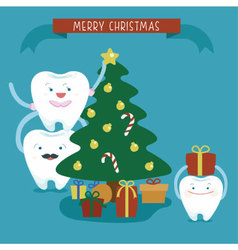 Merry Christmas family dental vector