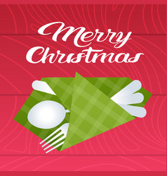 merry christmas table setting with spoon fork vector image