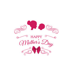 mother child silhouettes mothers day card vector image