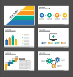 Orange blue yellow green presentation templates vector